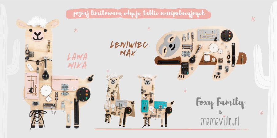 Tablice manipulacyjne personalizowane Lama Mika i Leniwiec Max
